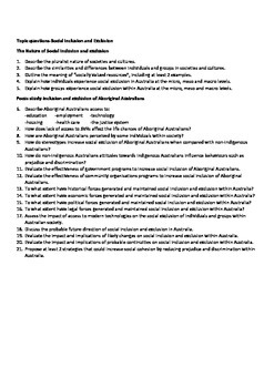 Social inclusion and Exclusion topic questions