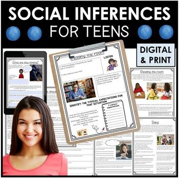 Social inferences. Older students & teens. NO PRINT & PRINTABLE workbook 210 pgs