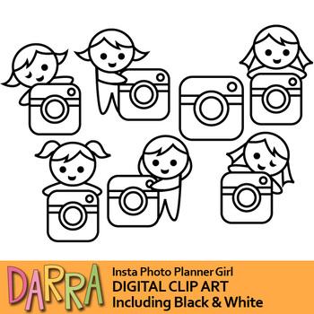 Social media instagram clip art (girl with pocket camera clipart)