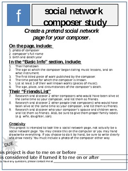 Social networking Composer Study (technology, writing, cross curricular,music)