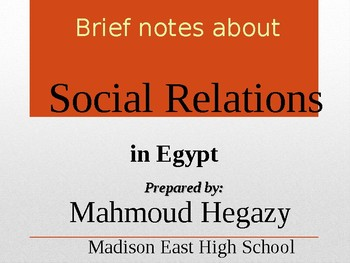 Social relations in Egypt and the Arab world