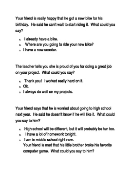 Social skills perspective taking worksheet | TpT
