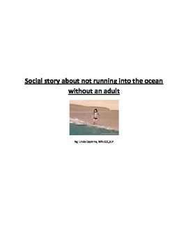 Social story about not running into the ocean without an adult