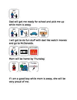 Social story parent on vacation