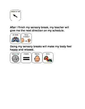 Social story taking a sensory break
