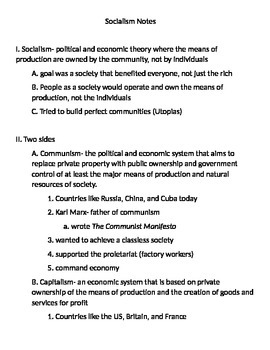 Global 2: Socialists Notes