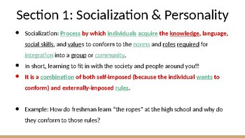 Socialization Ch 4 Section 1&2 Notes