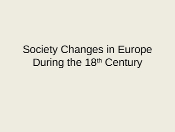 Society of Europe in the 18th Century