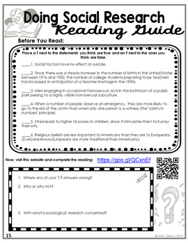 Sociological Research Reading Guide--Editable
