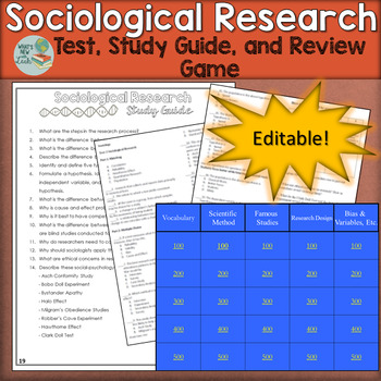 Sociological Research Test, Study Guide, and Review Game--Editable