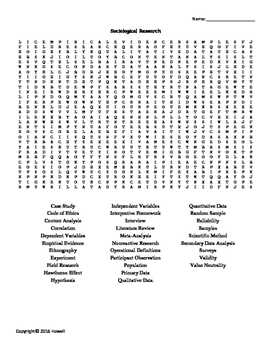 Sociological Research Vocabulary Word Search for Sociology
