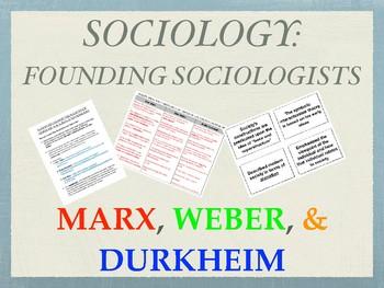 Sociology Activities - Founding Fathers - Marx, Weber, Durkheim