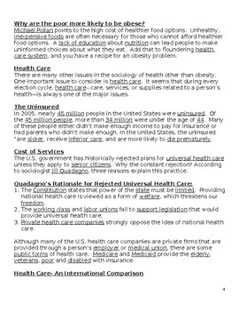 Sociology- Aging & Health Completed Guided Notes