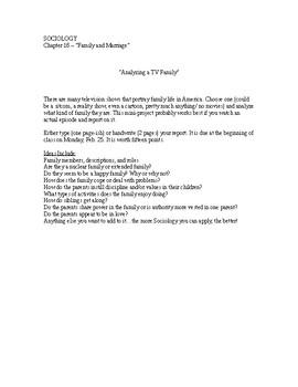 "Sociology - ""Analyze a TV Family"" Report"