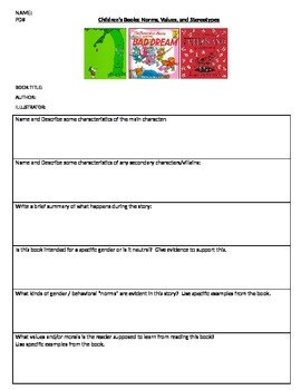 Sociology - Bias in Children's Literature activity
