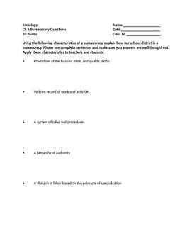 Sociology - Bureaucracy Questions