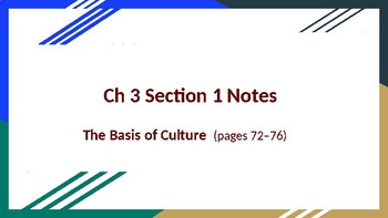 Sociology Ch 3 Culture Sections 1 & 2