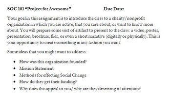 Sociology Charity Presentations