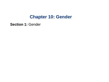 Sociology: Chp 19 Gender and Age ppt