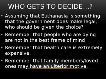 Sociology Class Discussion: Euthanasia (Assisted Suicide)