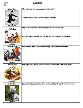 Sociology - Class Levels worksheet