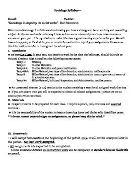 Sociology Course Syllabus 7 pages Film Permission Slip Rubric