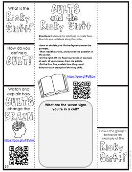 Sociology Cults and the Risky Shift Foldable Graphic Organizer