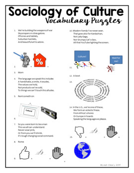 Sociology Culture Vocabulary Unit
