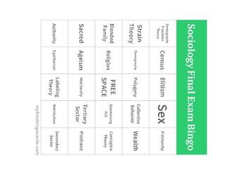 Sociology End of Course Bingo