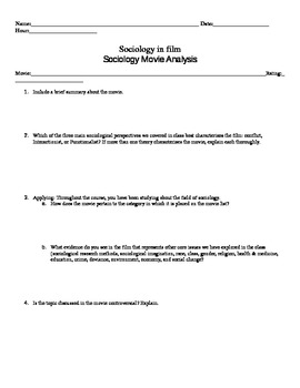Sociology: End of the Year Movie Guide Questions [for extr