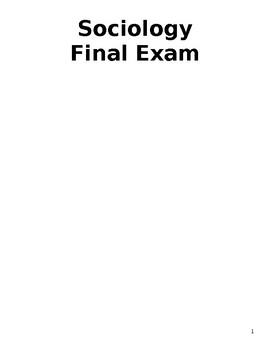 Sociology Final Exam Version 1