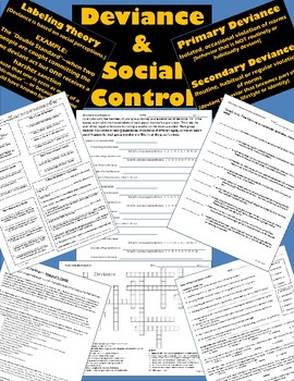 Sociology - Fun Activity Package - Deviance Discussion plus Notes, Wksts. & Quiz