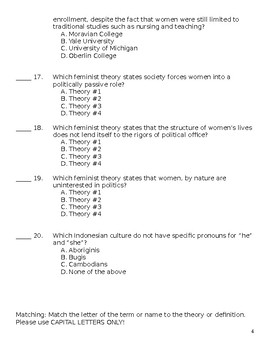 Sociology-Gender Stratification Test with Answer Key