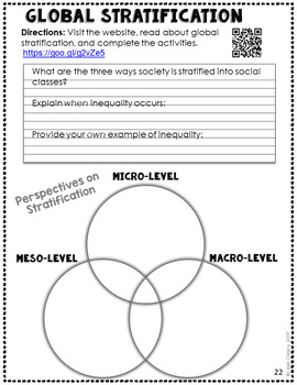 Sociology Global Stratification PowerPoint, Cloze Notes, and WebQuest