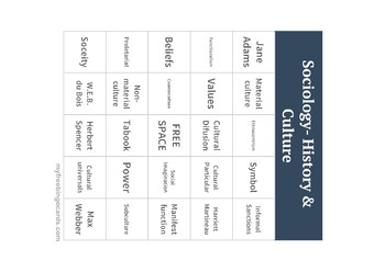 Sociology- History & Culture Bingo