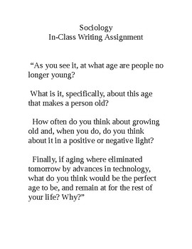"""Sociology - In Class Writing Assignment on """"Aging"""""""
