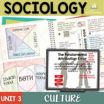 Sociology Culture Interactive Notebook Bundle