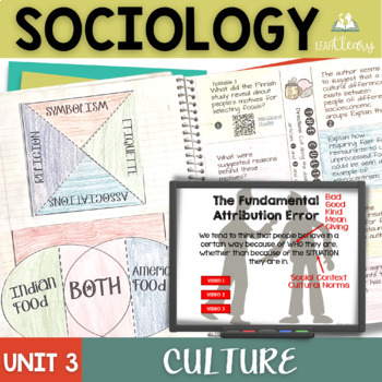 Sociology Culture Interactive Notebook Bundle