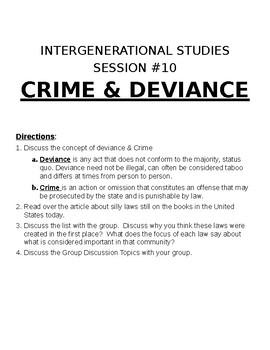 Sociology: Intergenerational Studies Activity Crime & Deviance