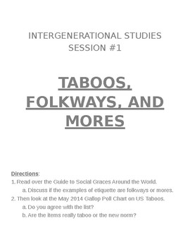 Sociology: Intergenerational Studies Activity: Taboos, Folkways & Mores