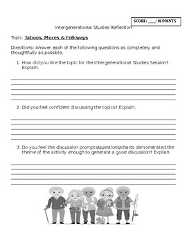 Sociology: Intergenerational Studies Activity: Taboos Reflection
