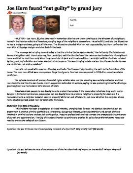 Sociology - Joe Horn article w/questions