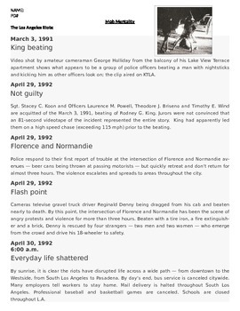Sociology - Mob Mentality: Rodney King case