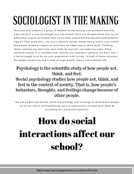 Sociology Project - Behavior Analysis