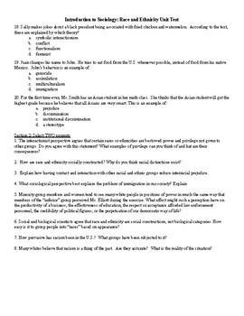 Sociology Racial Stratification Test