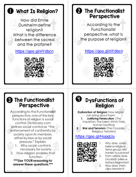 Sociology Religion Task Cards