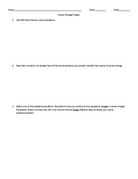 Sociology Social Change Project Rubric