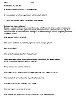 Sociology - Social Deviance worksheet