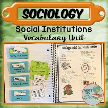 Sociology Social Institutions Vocabulary Unit