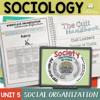 Sociology Social Organization Interactive Notebook Complete Unit Bundle